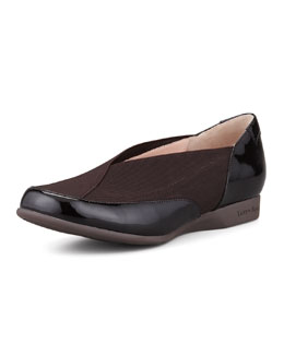 Taryn Rose Treva Elastic & Patent Slip-On, Dark Brown