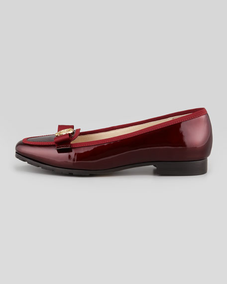 Gari Rose Detailed Patent Leather Loafer,  Merlot