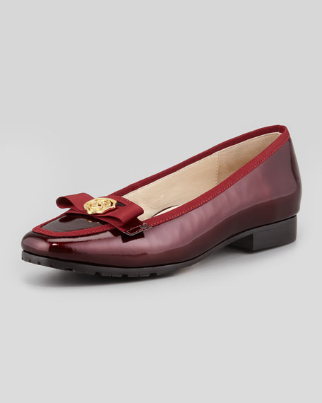 Gari Rose Detailed Patent Leather Loafer,  Merlot