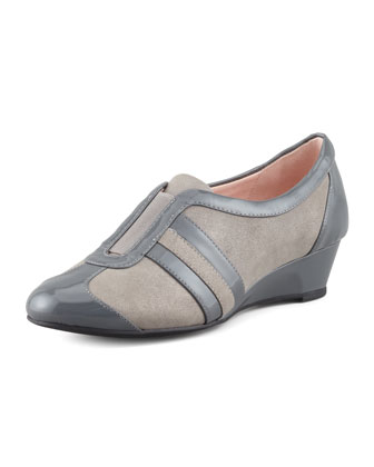 Paislee Striped Metallic Wedge Sneaker, Graphite