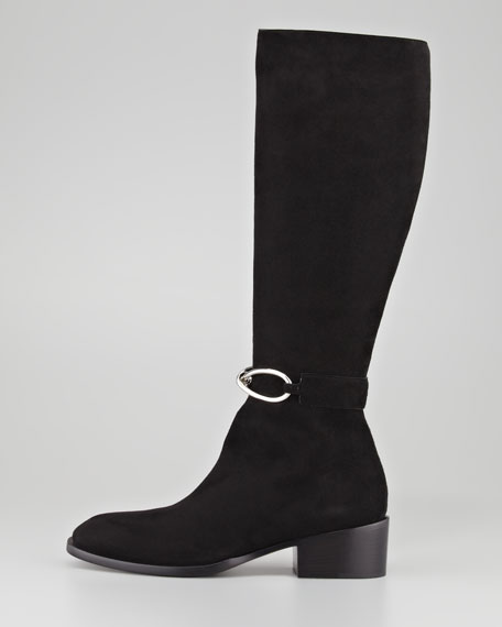 Bow Chain Suede Knee Boot, Black