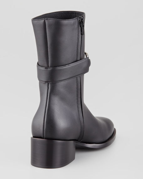 Mid-Calf Leather Boot, Black