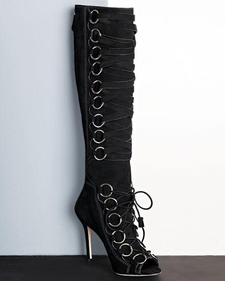 Zeva Suede Lace-Up Boot, Black