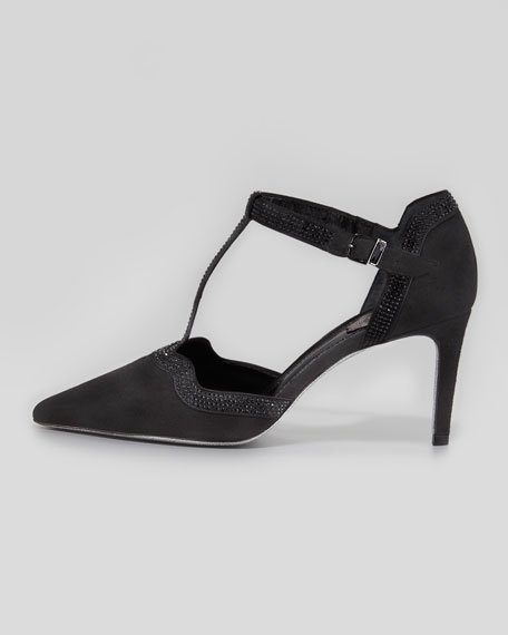 Suede T-Strap Pump with Strass Trim
