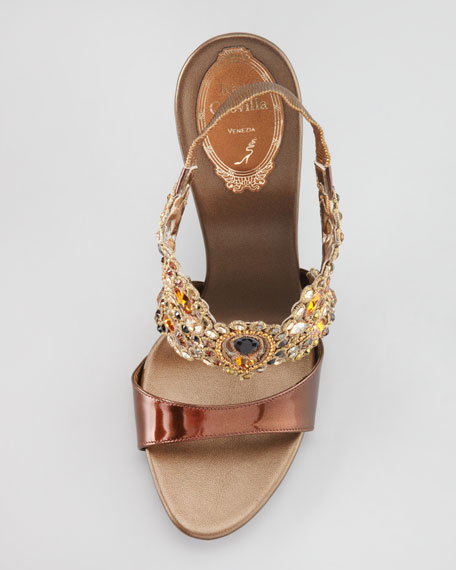 Jeweled Platform Halter Sandal, Bronze