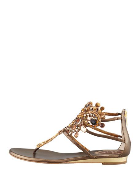 Crystal Caged Crown Thong Sandal, Bronze