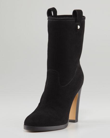 Gemini Suede High-Heel Bootie, Black