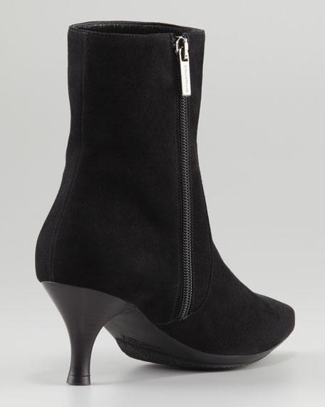 Mila Suede Kitten-Heel Bootie, Black