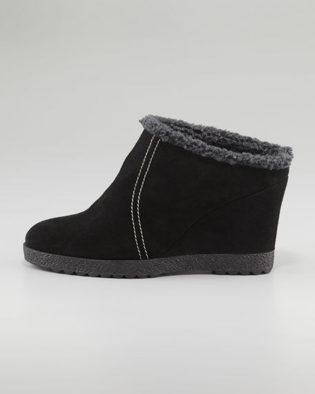 Cheer Suede Wedge Slide Bootie, Black
