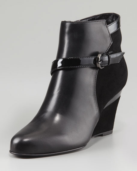 York Suede/Leather Wedge Bootie, Black