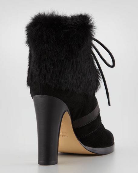 Grandly Suede-Rabbit Fur Lace-Up Boot, Black