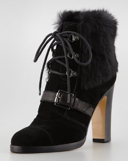 Aquatalia by Marvin K. Grandly Suede-Rabbit Fur Lace-Up Boot, Black