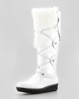 Aquatalia by Marvin K. Katch Lace-Up Rabbit Fur-Trim Boot, White