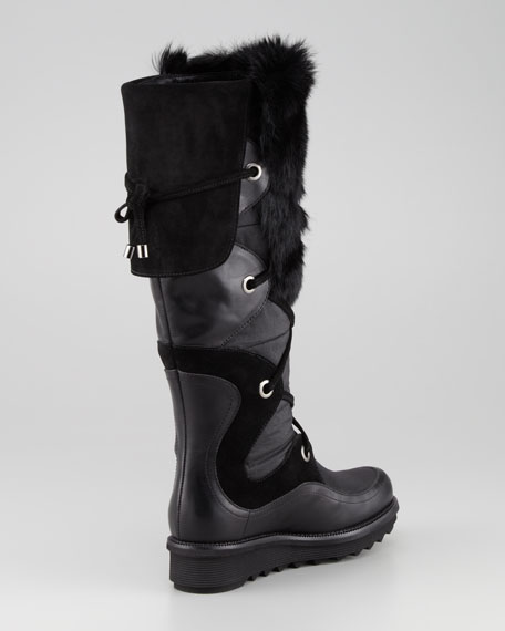 Katch Lace-Up Rabbit Fur-Trim Boot, Black