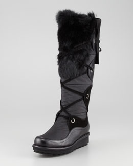 Aquatalia by Marvin K. Katch Lace-Up Rabbit Fur-Trim Boot, Black