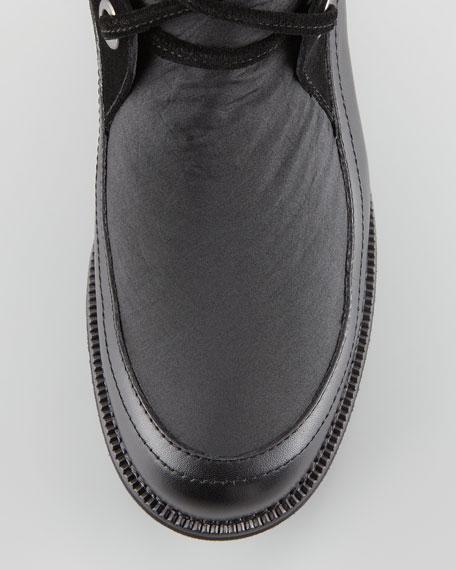 Katch Lace-Up Rabbit Fur-Trim Boot, Black