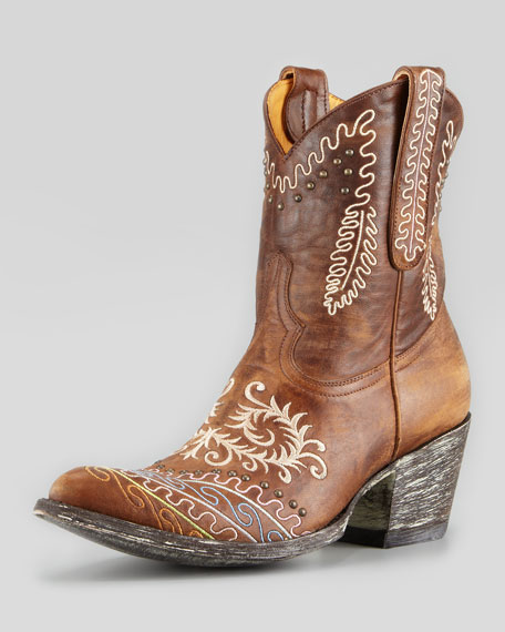 Zarape Embroidered Mid-Calf Western Boot