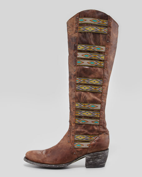 Old Gringo Elina Ganado Embroidered Leather Boot, Brass