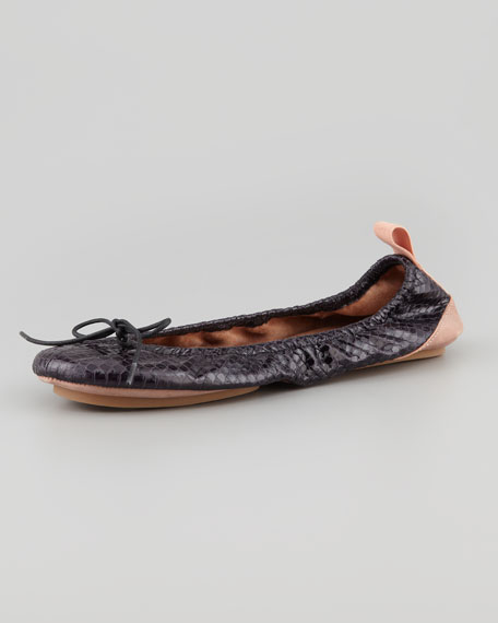 Molly Foldable Travel Snakeskin Ballerina Flat, Black