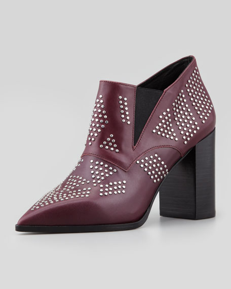 Studded Pointy-Toe Bootie, Black