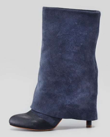 Fold-Over Suede Mid-Calf Boot, Navy
