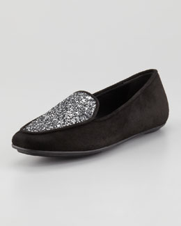 Jacques Levine Quinn Sparkle Smoking Slipper, Black