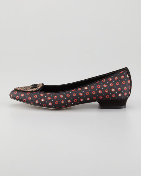 Laura Printed Belgian Loafer, Black/Gold