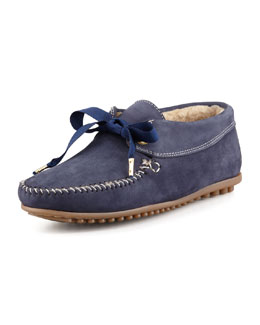 Jacques Levine Daphne Lace-Up Moccasin Bootie, Blue