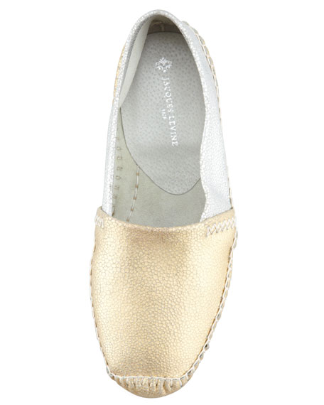 Davies Topstitched Metallic Moccasin, Gold/Silver