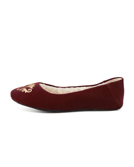 Bel Esprit Velour Slipper, Bordeaux