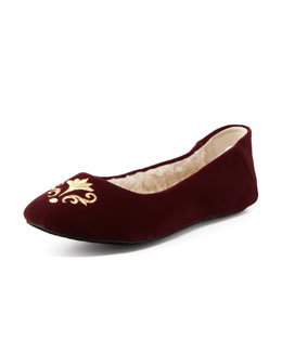 Jacques Levine Bel Esprit Velour Slipper, Bordeaux