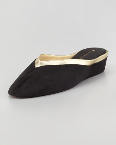 Jacques Levine 4640 Wedge Metallic Trim Mule Slipper, Black/Gold