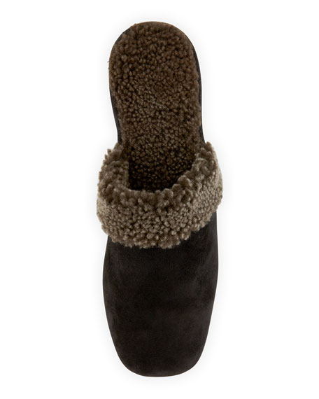 3fd961989 Jacques Levine Shearling-Lined Wedge Mule Slipper
