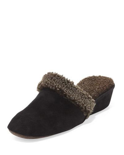 Jacques Levine Shearling-Lined Wedge Mule Slipper