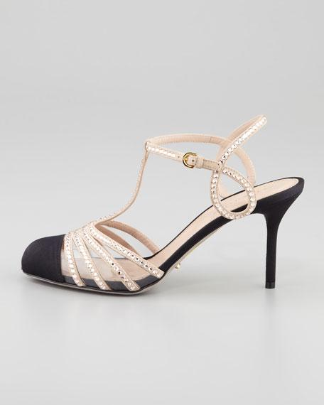 T-Strap Cap-Toe Crystal Sandal