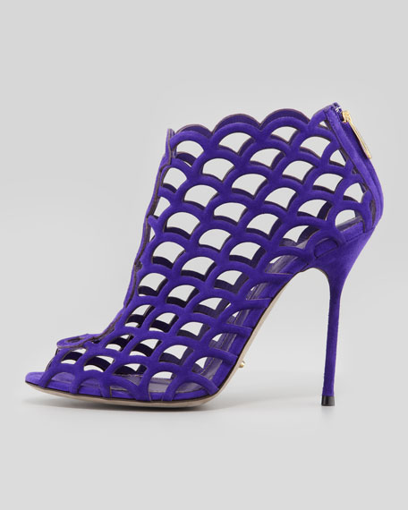 Suede Caged Peep-Toe Bootie