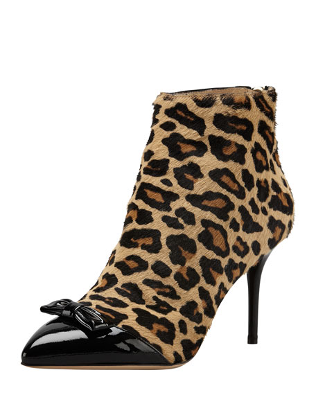 Charlotte Olympia Myrtle Leopard-Print Calf Hair Bootie