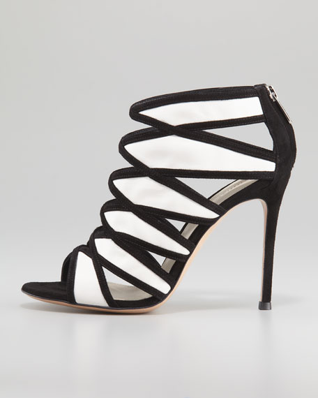 Two-Tone Suede-Leather Cage Bootie