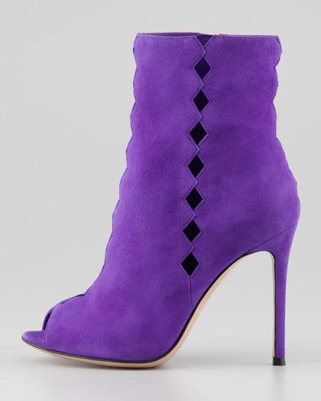 Suede Diamond-Cutout Peep Ankle Boot, Violet