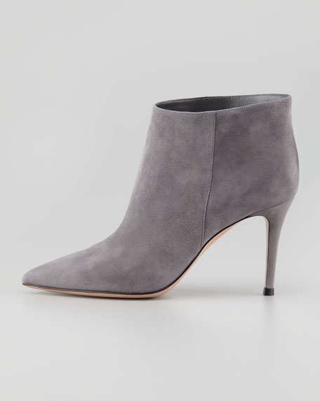 Suede Pointed-Toe Ankle Bootie, Gray