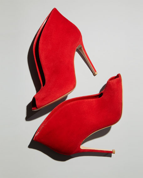 Suede Ankle-Flare Bootie, Red