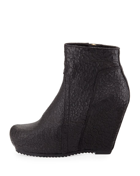 Leather Wedge Ankle Boot, Black