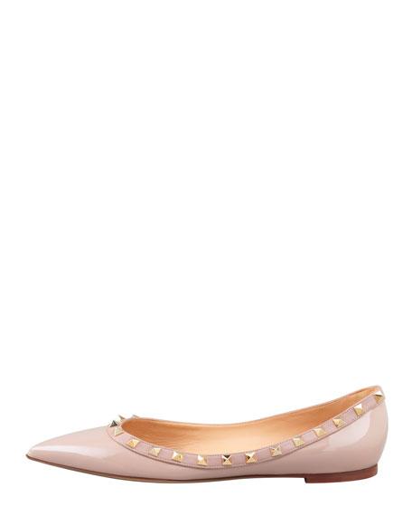 Valentino Rockstud Patent Ballerina Flat, Nude