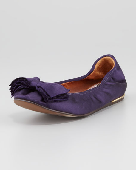 Satin Bow-Toe Ballerina Flat, Royal