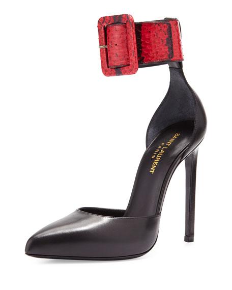 Snake & Leather Ankle-Strap Pump, Black/Red