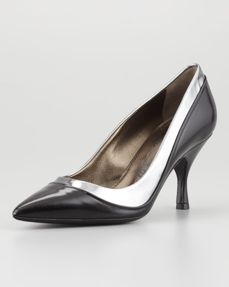 Two-Tone Pointed Toe Pump, Black
