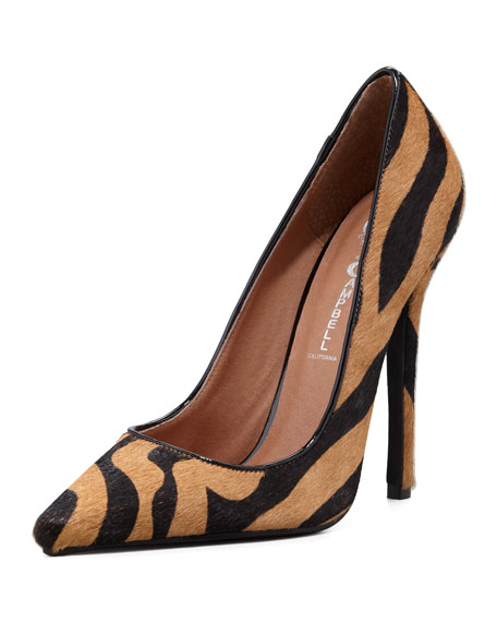 Darling Zebra-Print Calf Hair Pump
