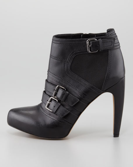 Kenly Safari Leather Bootie, Black