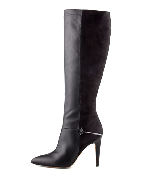 Mazie Leather and Suede Boot, Black