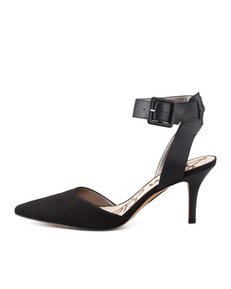 Okala Suede-Leather Ankle-Wrap Sandal